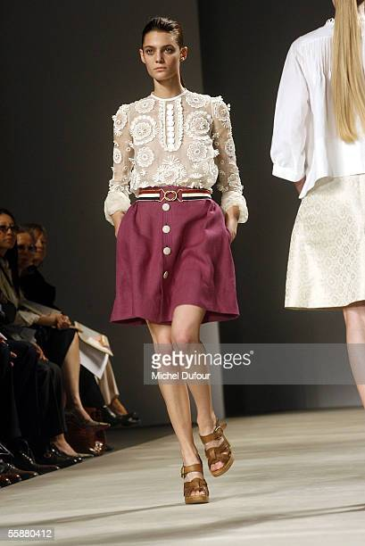 Model walks the catwalk during the Chloe show as part of Paris Fashion Week Spring/Summer 2006 on October 8, 2005 in Paris, France.