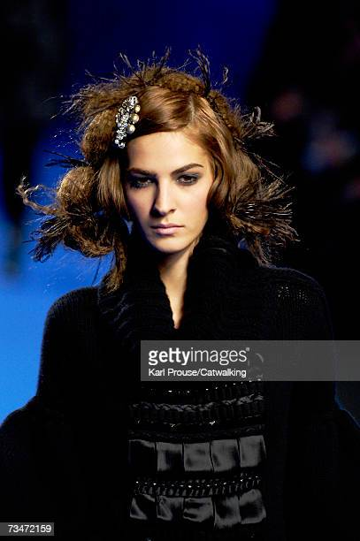 A model walks the catwalk during the Christian Lacroix fashion show as part of Paris Fashion Week Autumn/Winter 2008 on February 28 2007 in Paris...