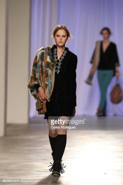 Model walks the catwalk during the Christophe Sauvat Runway show in the Lisboa Fashion Week ModaLisboa day 3 at on March 12 2017 in Lisbon Portugal