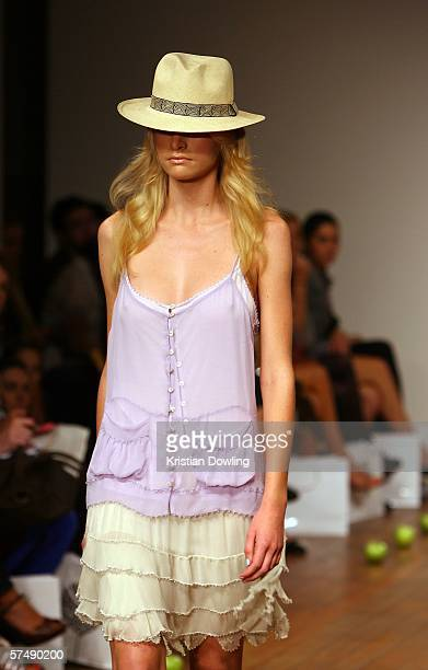 Model walks the catwalk during the Cohen et Sabine collection show during Mercedes Australian Fashion Week at the Billich Gallery on April 29, 2006...