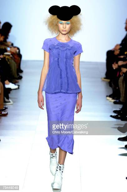 A model walks the catwalk during the Comme Des Garcons fashion show as part of Paris Fashion Week Autumn/Winter 2008 on February 27 2007 in Paris...