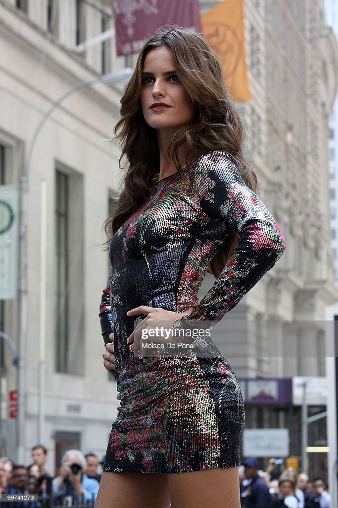 A model walks the catwalk during the Express 30th Anniversary Celebration Fashion Show outside of the New York Stock Exchange on May 14, 2010 in New York City.