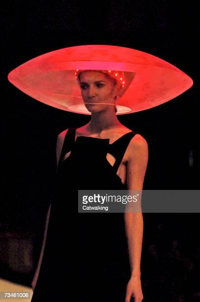 Model walks the catwalk during the Hussein Chalayan fashion show as part of Paris Fashion Week Autumn/Winter 2008 on February 28, 2007 in Paris,...