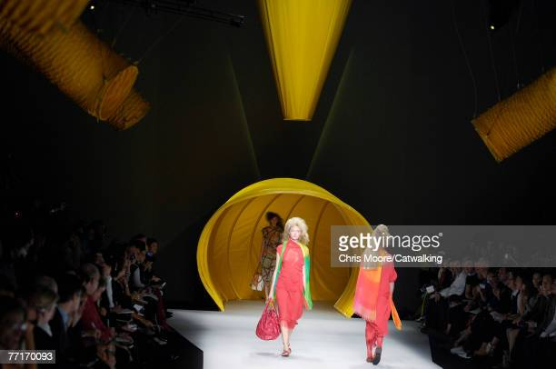 A model walks the catwalk during the Issey Miyake collection show part of Paris Fashion Week Spring Summer 2008 on October 2 2007 in Paris France
