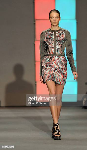 A model walks the catwalk during the Marios Schwab show during London Fashion Week Autumn/Winter 2009 at the TopShop venue University of Westminster...
