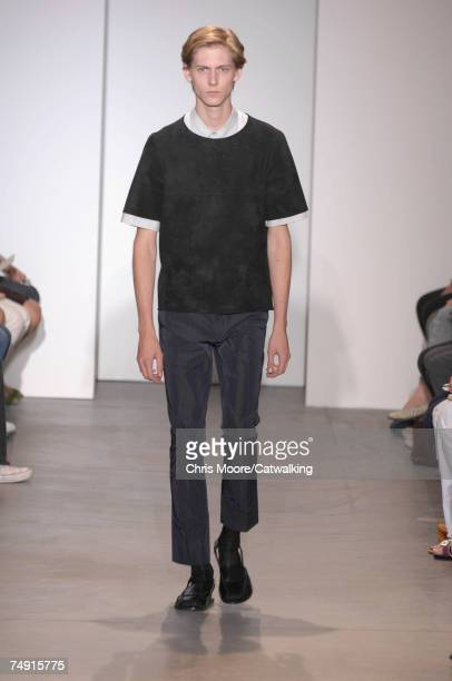 Model walks the catwalk during the Marni fashion show as part of Spring Summer 2008 Milan Menswear fashion week on June 26, 2007 in Milan, Italy.