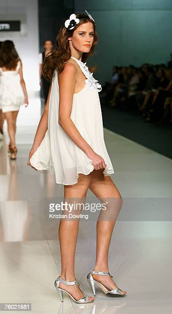 A model walks the catwalk during the Nicola Finetti collection show as part of the Myer Spring/Summer Collection Launch at the Carriageworks on...