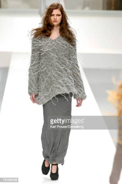 A model walks the catwalk during the Nina Ricci fashion show as part of Paris Fashion Week Autumn/Winter 2008 on March 4 2007 in Paris France