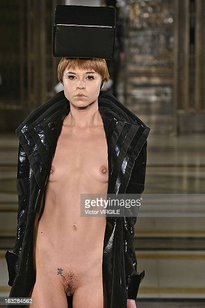 A model walks the catwalk during the Pam Hogg Ready to Wear Fall/Winter 20132014 show at Freemasons Hall during London Fashion Week Fall/Winter...