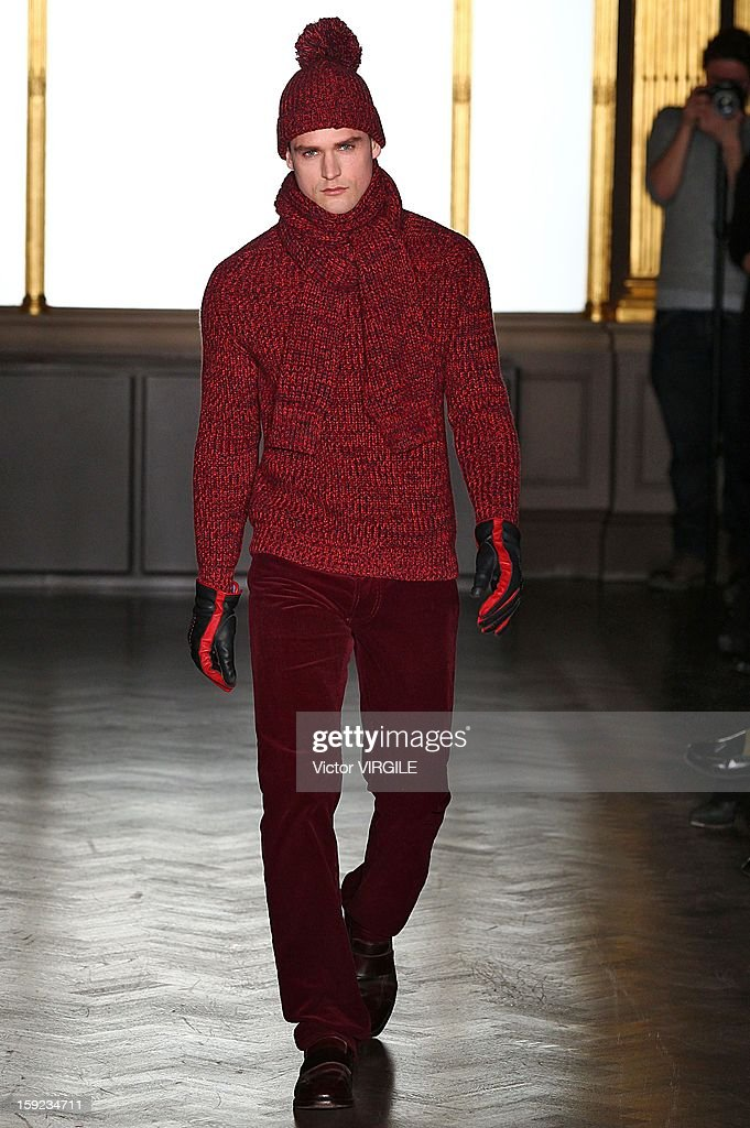 A model walks the catwalk during the Richard James Ready to wear Fall/Winter 2013-2014 show at the London Collections: MEN AW13 at Cafe Royal on January 8, 2013 in London, England.