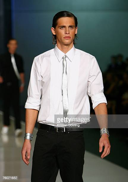 A model walks the catwalk during the Saxony collection show as part of the Myer Spring/Summer Collection Launch at the Carriageworks on August 8 2007...