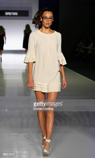 A model walks the catwalk during the Sretsis collection show as part of the Myer Spring/Summer Collection Launch at the Carriageworks on August 8...