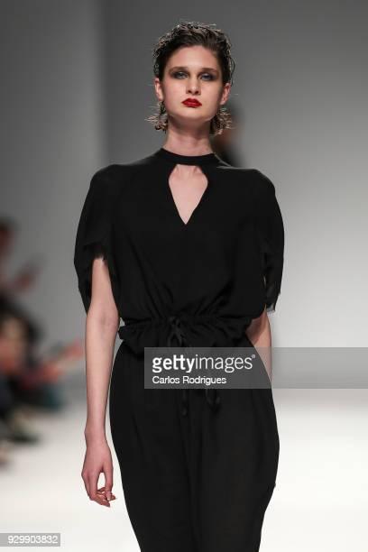A model walks the catwalk during the the Aleksandar Protic show at the 50th edition of Lisboa Fashion Week 'ModaLisboa' AW 2018 at Pavilhao Carlos...