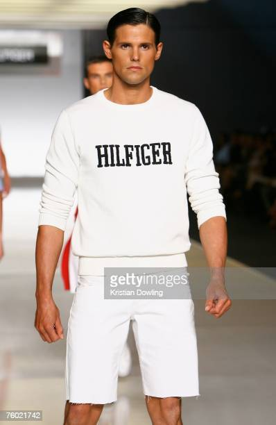 A model walks the catwalk during the Tommy Hilfiger collection show as part of the Myer Spring/Summer Collection Launch at the Carriageworks on...