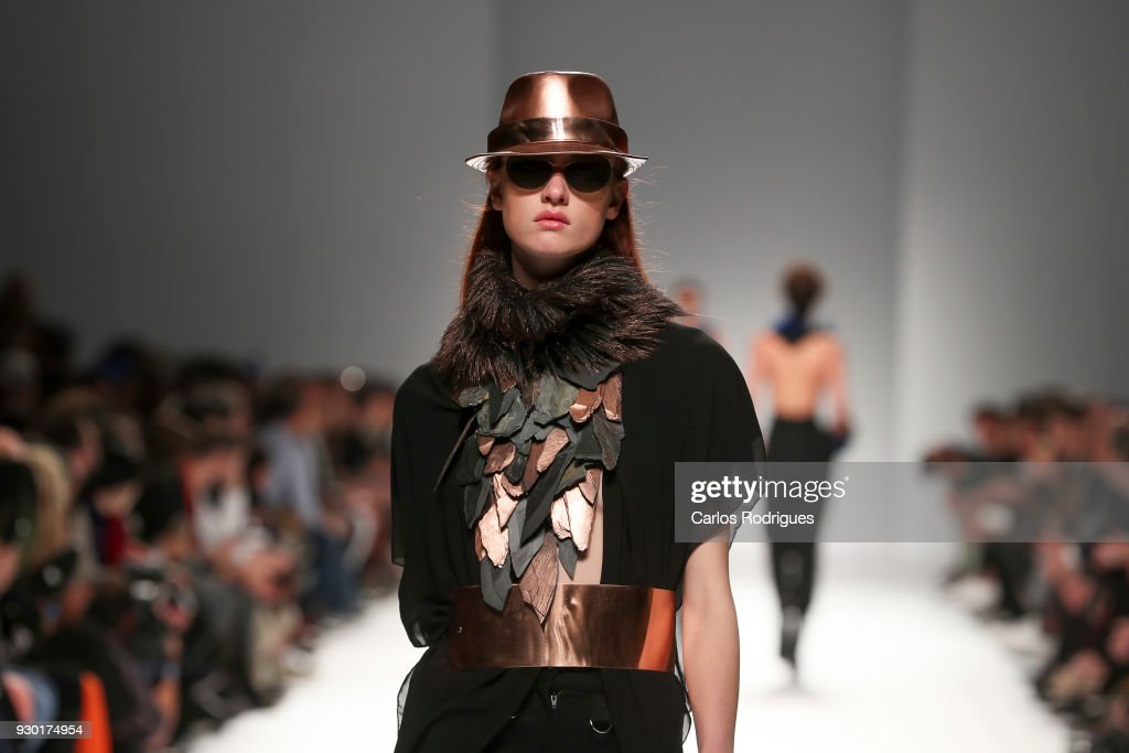 Model walks the catwalk during the Valentim Quaresma runway show at the 50 edition of Lisboa Fashion Week 'ModaLisboa' FW 2018 at Pavilhao Carlos Lopes, on March 10, 2018 in Lisbon, Portugal.