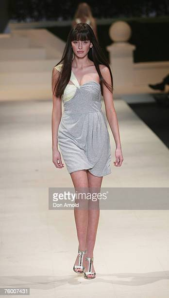 A model walks the catwalk in a design by Alice McCall during the David Jones Summer 2007 Collection Launch at Fox Studios on August 7 2007 in Sydney...