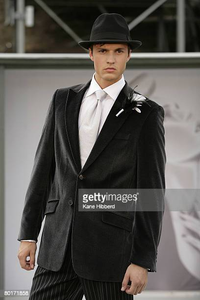 Model walks the catwalk wearing a design by Dom Bagnato during the Pop Up Show 5 as part of the L'Oreal Melbourne Fashion Festival in Victorian...