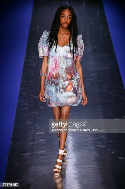 Model walks the catwalk wearing Tsumori Chisato during Paris Fashion Week Ready-to-Wear Spring/Summer 2008 October 2, 2007 in Paris, France.