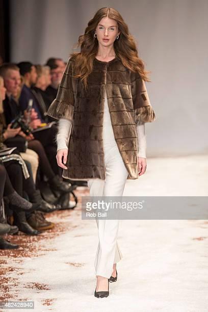 Model walks the catwatk for designers Great Greenland x Jesper Hovring during Copenhagen Fashion Week Autumn/Winter 2015 on January 28, 2015 in...