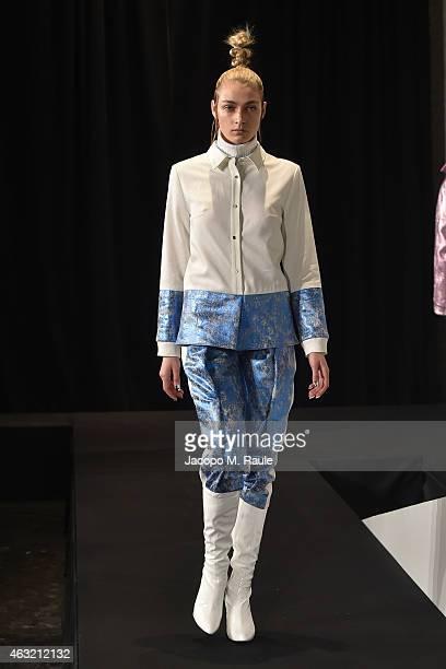 A model walks the Daniel Silverstain Runway at MercedesBenz Fashion Week Fall 2015 on February 11 2015 in New York City