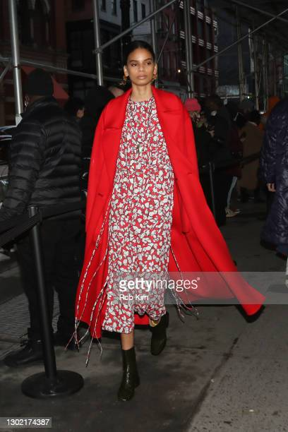 Model walks the outdoor runway at the Jason Wu Fall 2021 collection show during New York Fashion Week: The Show on February 14, 2021 in New York City.