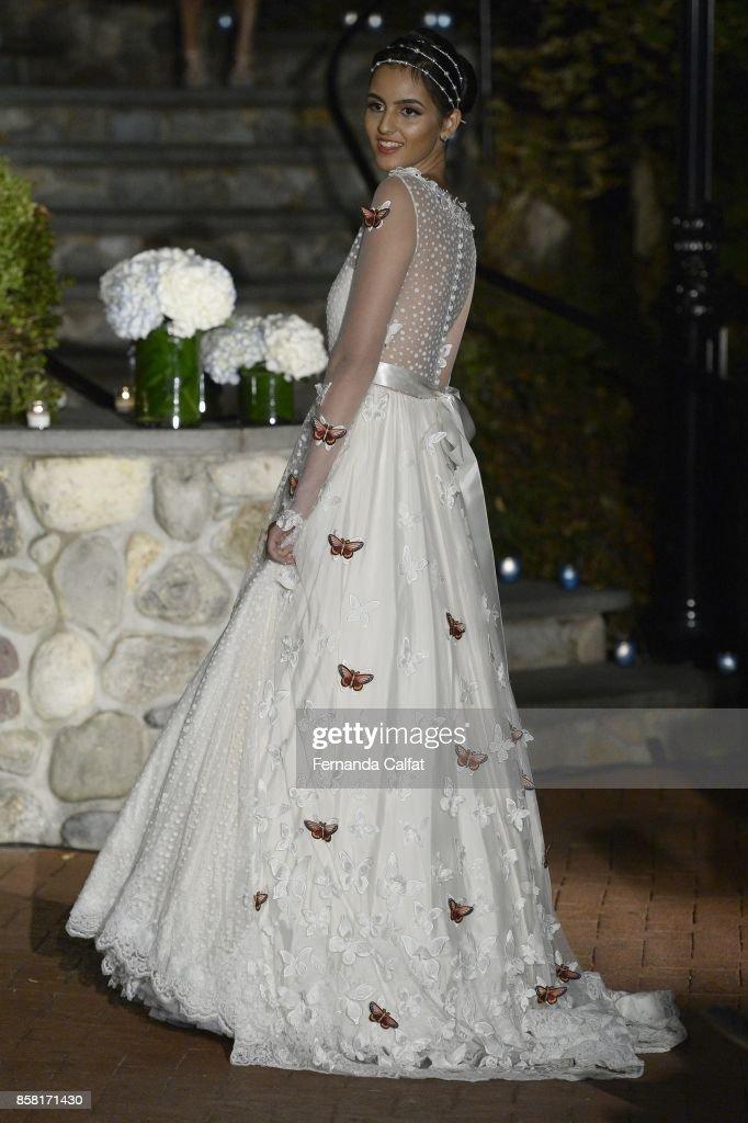 A model walks the Po de Arroz runway show at New York Fashion Week Bridal October 2017 at Hendrick's Tavern on October 5, 2017 in Roslyn, New York.