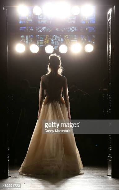 A model walks the run through before the Zeynep Kartal show at the Fashion Scout venue during London Fashion Week AW14 at Freemasons Hall on February...