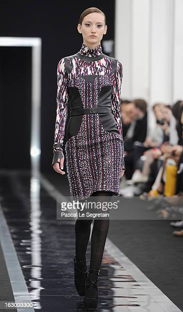 Model walks the run way during the Maxime Simoens Fall/Winter 2013 Ready-to-Wear show as part of Paris Fashion Week on March 3, 2013 in Paris, France.