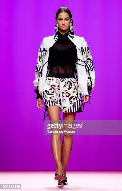 MADRID SPAIN JULY 08 A model walks the runaway at Maria Escote show during the MercedesBenz Madrid Fashion Week on July 8 2018 in Madrid Spain