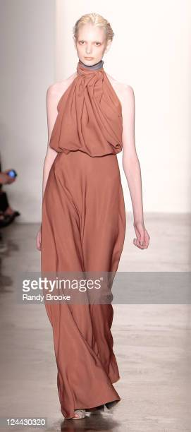 Model walks the runwa at the Costello Tagliapietra 2012 fashion show during Mercedes-Benz Fashion Week at Milk Studios on September 9, 2011 in New...
