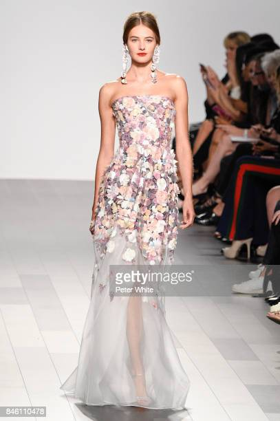 Model walks the runway after the Badgley Mischka fashion show during New York Fashion Week: The Shows at Gallery 1, Skylight Clarkson Sq on September...