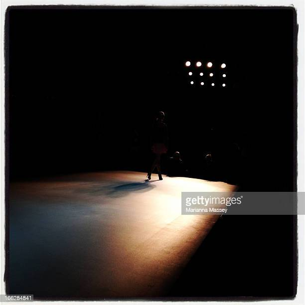 A model walks the runway ahead of the Bless'ed Are The Meek show during MercedesBenz Fashion Week Australia Spring/Summer 2013/14 at Carriageworks on...