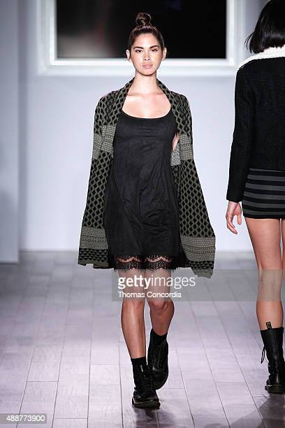 A model walks the runway as KIA STYLE360 Hosts The Adam Levine Collection presented by Shop Your Way Brands/Kmart on September 16 2015 in New York...