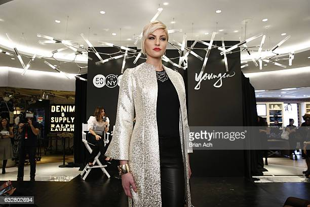 A model walks the runway as Macy's celebrates the 50th Anniversary of the Mayor's Office Of Media And Entertainment with fashion show curated by...