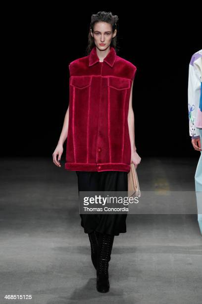 A model walks the runway at 31 Phillip Lim during MercedesBenz Fashion Week Fall 2014 at Skylight at Moynihan Station on February 10 2014 in New York...