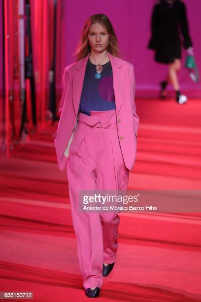 Model walks the runway at 3.1 Phillip Lim during New York Fashion Week at Spring Studios on February 13, 2017 in New York City.