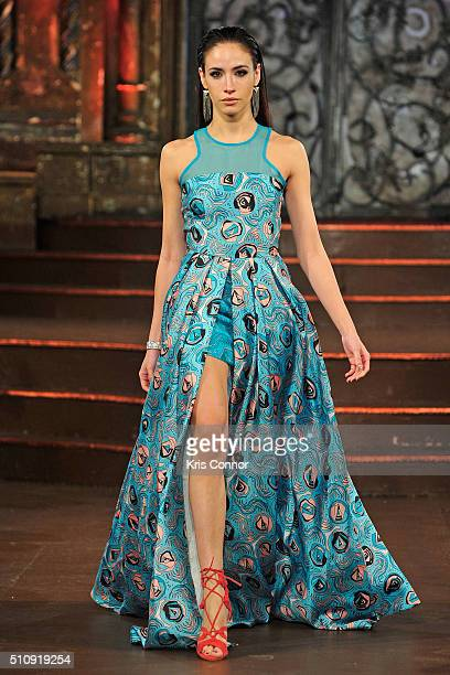 A model walks the runway at 7Crash show during Art Hearts Fashion NYFW Fall/Winter 2016 at The Angel Orensanz Foundation on February 17 2016 in New...