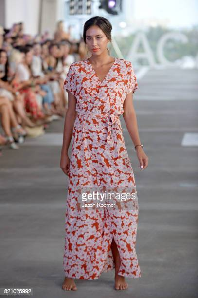 A model walks the runway at ACACIA fashion show during FUNKSHION Swim Fashion Week at 1111 Lincoln Road on July 22 2017 in Miami Florida