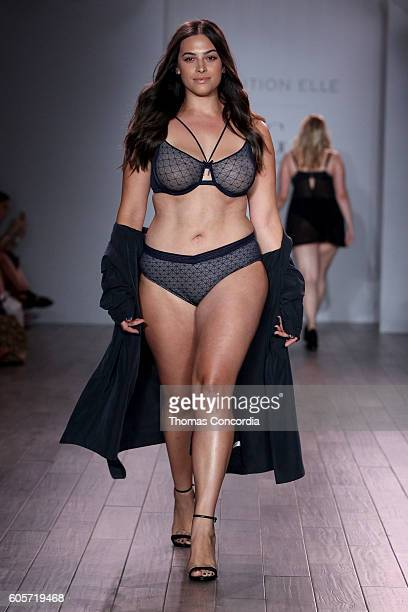 A model walks the runway at Addition Elle Presents Holiday 2016 RTW Ashley Graham Lingerie Collection at Kia STYLE360 NYFW on September 14 2016 in...