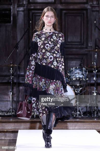A model walks the runway at Adeam fashion show during New York Fahion Week at The High Line Hotel on February 9 2017 in New York City