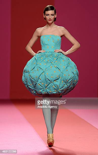 A model walks the runway at Agatha Ruiz de la Prada Fall/Winter 2015/16 show during the Madrid Fashion Week at Ifema on February 10 2015 in Madrid