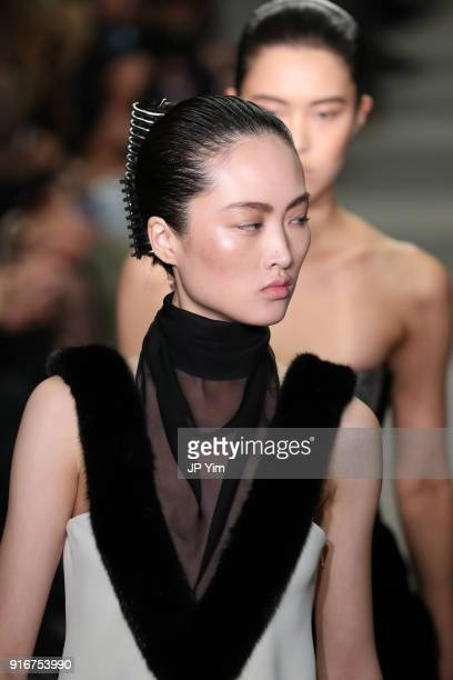 A model walks the runway at Alexander Wang during New York Fashion Week at 4 Times Square on February 10 2018 in New York City