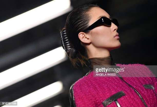 A model walks the runway at Alexander Wang during New York Fashion Week at 4 Times Square on February 10 2018 in New York City / AFP PHOTO / ANGELA...