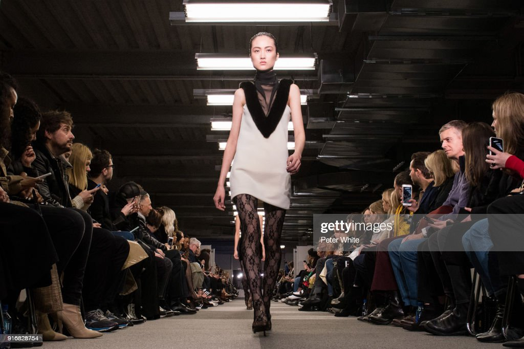 A model walks the runway at Alexander Wang Fashion Show during New York Fashion Week at 4 Times Square on February 10, 2018 in New York City.