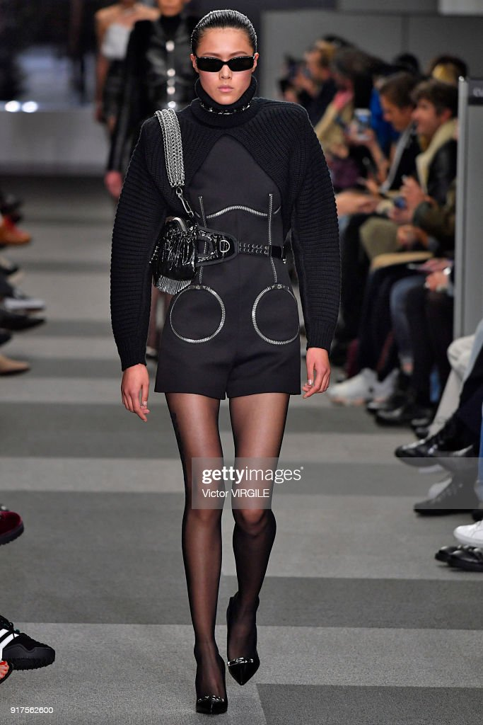 A model walks the runway at Alexander Wang Ready to Wear Fall/Winter 2018-2019 Fashion Show during New York Fashion Week on February 10, 2018 in New York City.