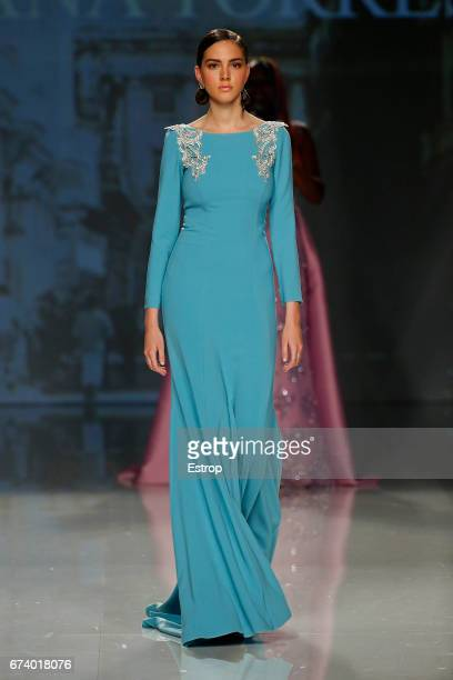 A model walks the runway at Ana Torres show during Barcelona Bridal Fashion Week 2017 on April 27 2017 in Barcelona Spain