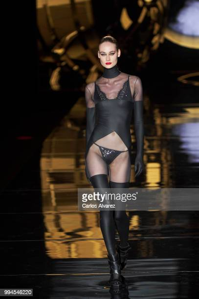 A model walks the runway at Andres Sarda show at Mercedes Benz Fashion Week Madrid Spring/ Summer 2019 on July 9 2018 in Madrid Spain on July 9 2018...