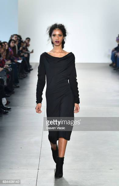 A model walks the runway at Ane Amour fashion show during February 2017 New York Fashion Week at Pier 59 on February 9 2017 in New York City