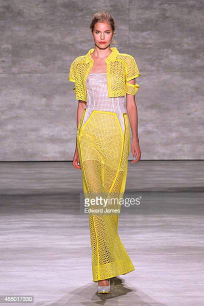 A model walks the runway at Angel Sanchez during MercedesBenz Fashion Week Spring 2015 at The Pavilion at Lincoln Center on September 8 2014 in New...