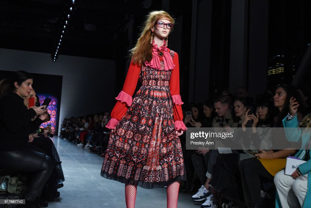 Model walks the runway at Anna Sui - Runway - February 2018 - New York Fashion Week: at Spring Studios on February 12, 2018 in New York City.
